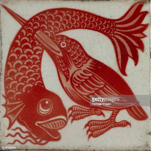 Tile with kingfisher with beak through fish 18821888 Artist William Frend De Morgan