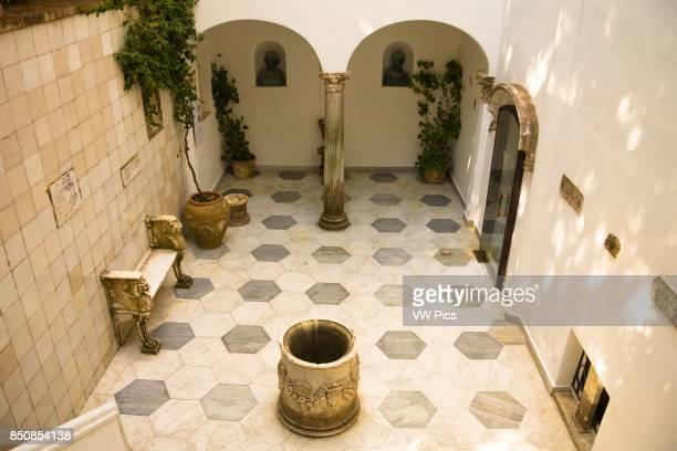Tiled courtyard inside Villa San Michele former home of Dr Axel Munthe Anacapri Capri Italy