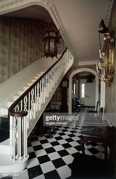 A tiled entrance hall in the US federal style Pingree Gardner House designed by Samuel McIntire in 1804 | Location Pingree Gardner House Salem...