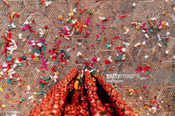 tiled floor full of confetti after a party seen from above - wedding after party stock pictures, royalty-free photos & images