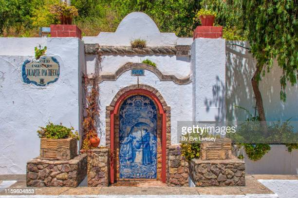 tiled fountain in alte - traditionally portuguese stock pictures, royalty-free photos & images