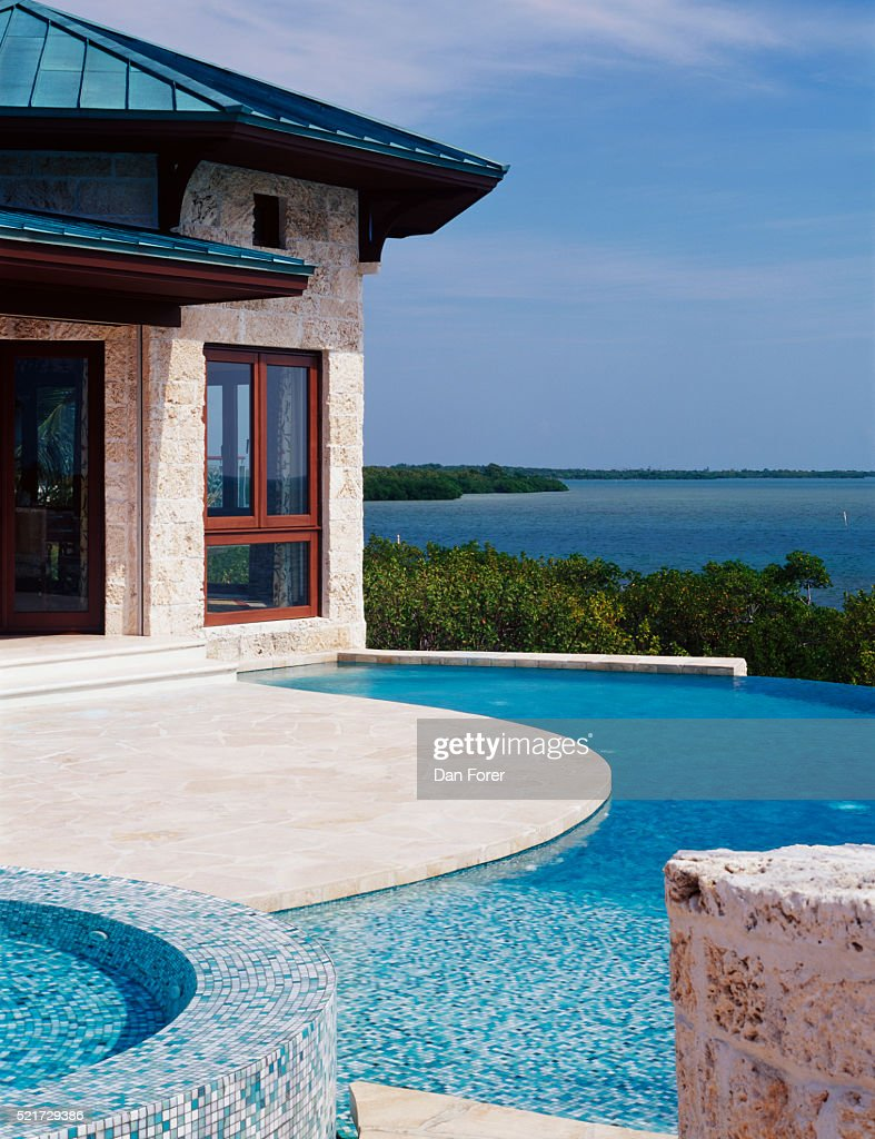 Tiled Hot Tub And Pool With View Stock Photo | Getty Images