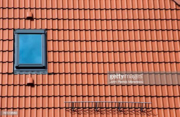 Germany, Bavaria, tiled roof and dormer window, elevated view, close-up, (full frame)