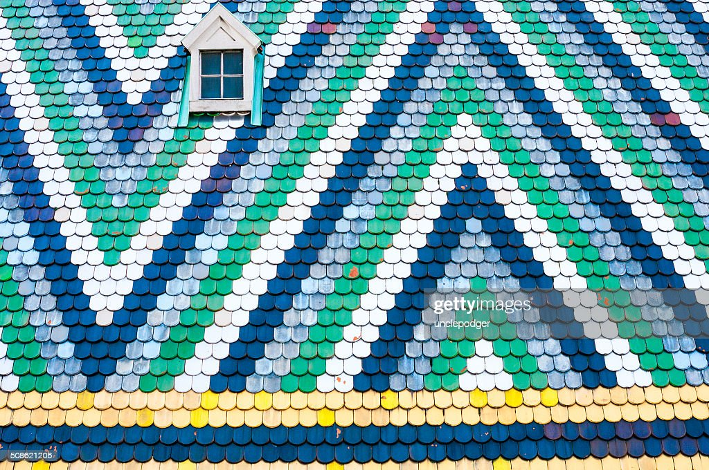 Tiled roof detail of the St Stephen's Cathedral in Vienna : Stock Photo