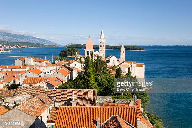 Tiled roofs and ancient bell towers, Rab, Croatia