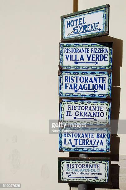 Tiled signs in Capri, Italy