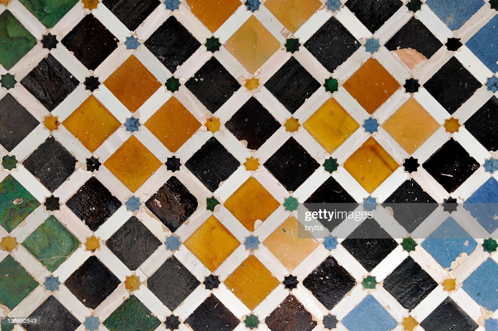 Tiled wall in Nasrid Palace,Alhambra,Granada,Andalucia,Spain : Stock Photo