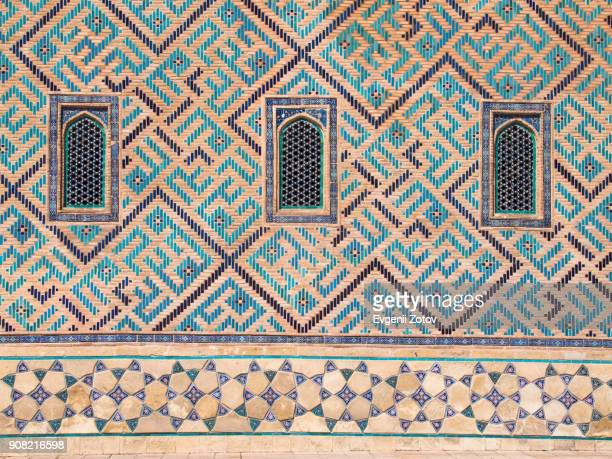 tiled wall of mausoleum of khoja ahmed yasawi in turkistan city, kazakhstan - arabic script stock pictures, royalty-free photos & images