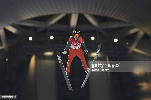 Tilen Bartol of Slovenia competes in the Men's Normal Hill Individual Qualification at Alpensia Ski Jumping Centre on February 8 2018 in...