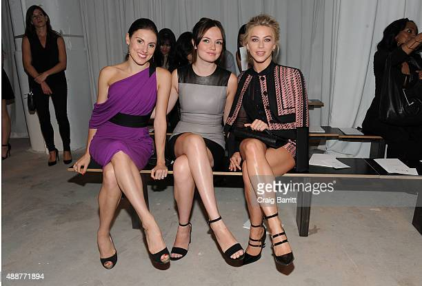 Tiler Peck Emily Meade and Julianne Hough attends the J Mendel fashion show during Spring 2016 New York Fashion Week on September 17 2015 in New York...