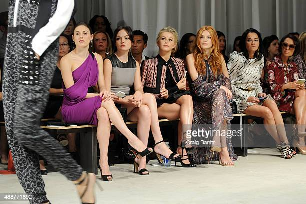 Tiler Peck Emily Meade Julianne Hough and Bella Thorne and Lisa Airan attend the J Mendel fashion show during Spring 2016 New York Fashion Week on...