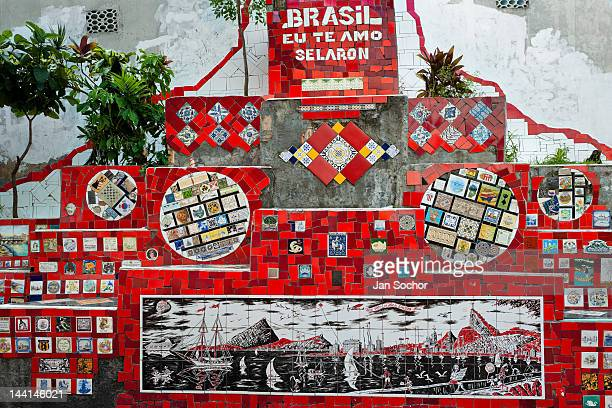Tiles from around the world seen on Selaron's Stairs a colorful mosaic tile stairway on February 12 2012 in Rio de Janeiro Brazil World famous...