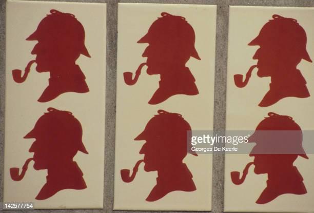 Tiles in Baker Street London Underground Station featuring the silouhette of Sherlock Holmes 8th December 1986