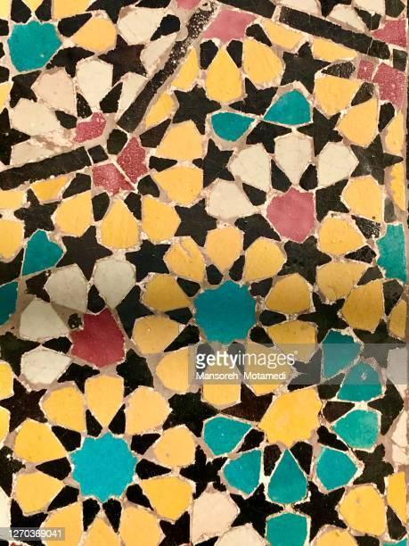 tiles in haram complex and the shah abdul azim shrine in shahr-e rey iran - religieuze dienst stockfoto's en -beelden