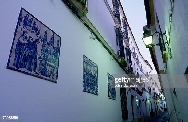 Tiles lining old town street, Cordoba, Spain