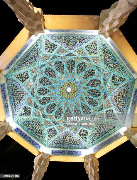 tiles mosaic on the ceiling of hafez tomb memorial, shiraz, iran - poetry literature stock pictures, royalty-free photos & images