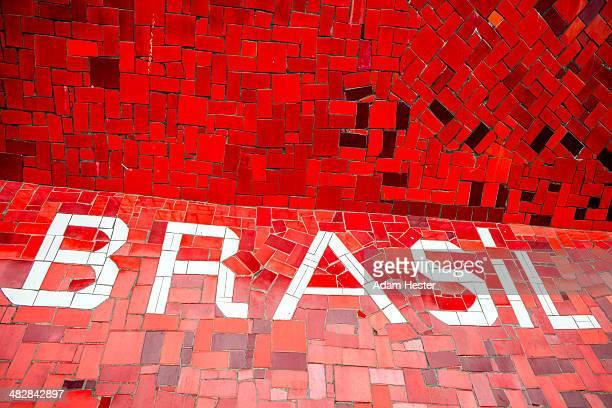 Tiles on the Selaron steps in Rio de Janeiro.