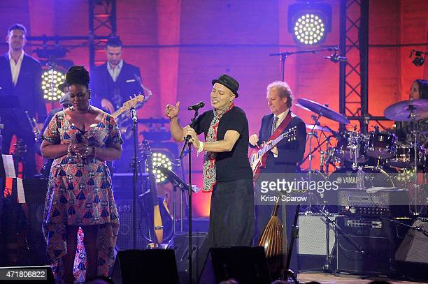 Till Bronner Dianne Reeves Guillaume Perret Dhafer Youssef Lee Ritenour and Terri Lyne Carrington perform on stage during the finale of the...