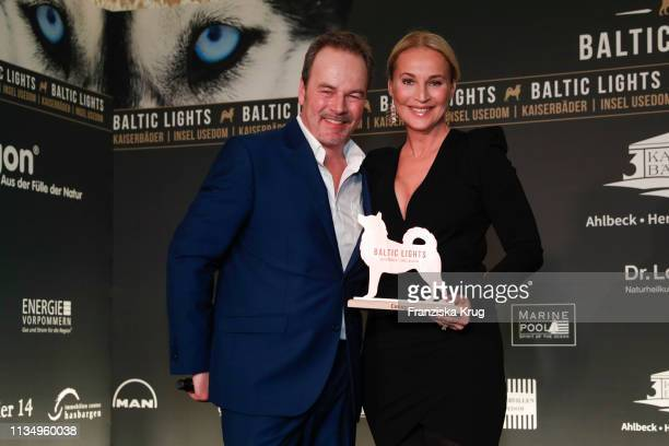 """March 09: Till Demtroeder and Caroline Beil during the """"Baltic Lights"""" gala night event on March 9, 2019 in Heringsdorf, Germany. The annual charity..."""