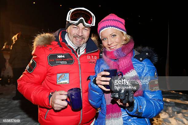 Till Demtroeder and Eva Habermann attend the Snowshoe Hiking And Slide Tour Tirol Cross Mountain 2013 on December 05 2013 in Innsbruck Austria