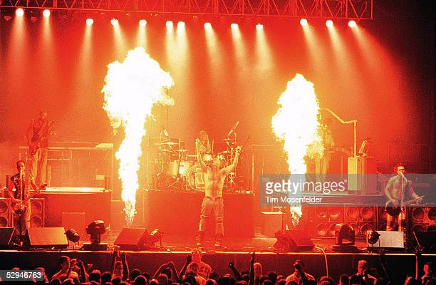 Till Lindemann and Rammstein perform as part of The Pledge of Allegiance Tour 2001at Cox Arena on September 30 2001 in San Diego California