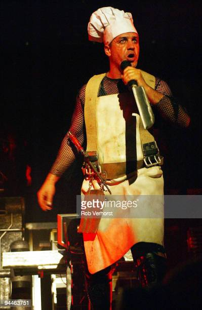 Till Lindemann from Rammstein performs live on stage at Ahoy Rotterdam Holland on November 04 2004