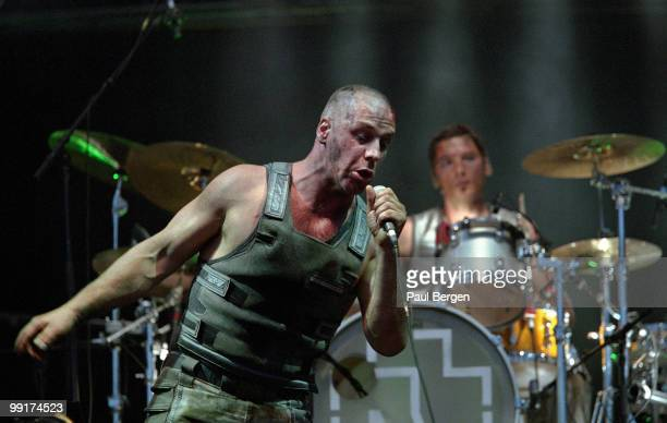 Till Lindemann from Rammstein performs live on stage at Pinkpop festival in Landgraaf Netherlands on May 20 2002