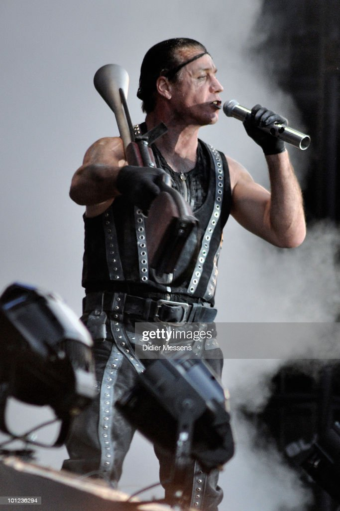 Till Lindemann of Rammstein performs during the first day of Pink Pop Festival on May 28, 2010 in Landgraaf, Netherlands.