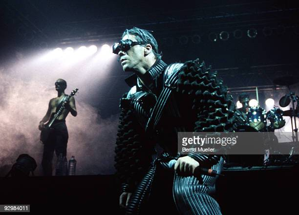 Till Lindemann of Rammstein performs on stage in 1997 in Munich Germany