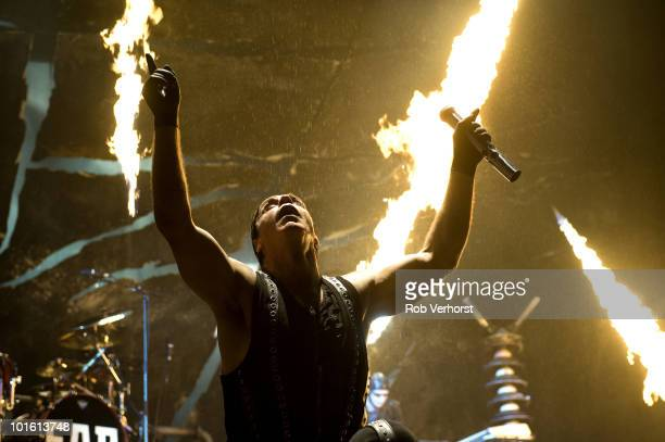 Till Lindemann of Rammstein performs on stage with pyrotechnics at the Gelredome on 6th December 2009 in Arnhem Netherlands
