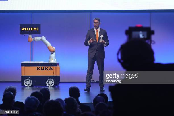 Till Reuter chief executive officer of Kuka AG speaks during the B20 Summit a business forum linked to Germany's G20 presidency in Berlin Germany on...