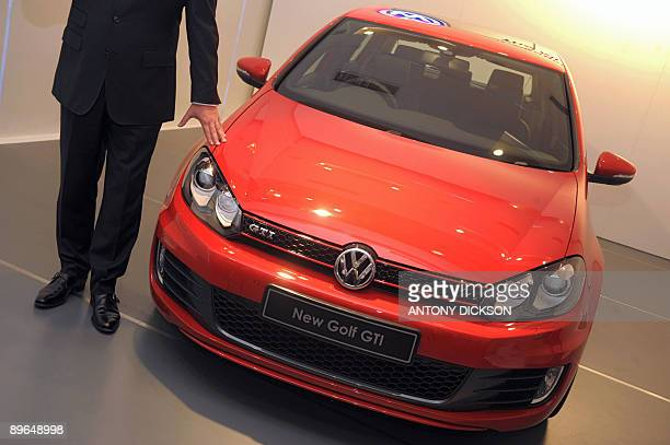 Till Scheer managing director of Volkswagon Hong Kong unveils the new Volkswagon Golf GTI in Hong Kong on August 7 2009 Germany's Volkswagen the...