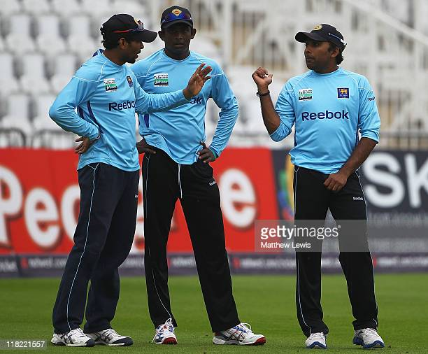 Tillakaratne Dilshan Ajantha Mendis and Mahela Jayawardene of Sri Lanka in action during a Sri Lanka nets session at Trent Bridge on July 5 2011 in...