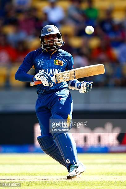 Tillakaratne Dilshan of Sri Lanka bats during the 2015 ICC Cricket World Cup match between England and Sri Lanka at Wellington Regional Stadium on...