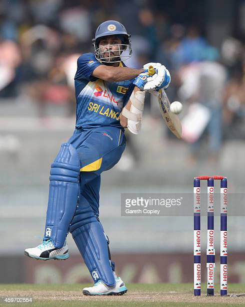 Tillakaratne Dilshan of Sri Lanka bats during the 2nd One Day International match between Sri Lanka and England at R Premadasa Stadium on November 29...