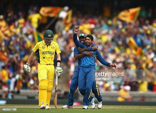 Tillakaratne Dilshan of Sri Lanka celebrates after taking the wicket of Steve Smith of Australia during the 2015 ICC Cricket World Cup match between...