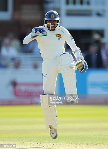 Tillakaratne Dilshan of Sri Lanka celebrates his century during day two of the 2nd npower Test Match between England and Sri Lanka at Lord's Cricket...