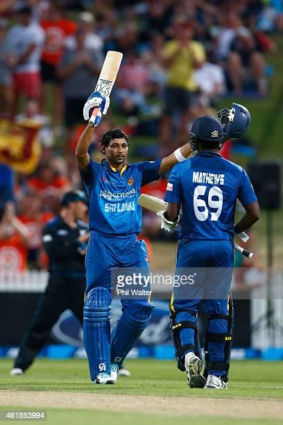 Tillakaratne Dilshan of Sri Lanka celebrates his century during the One Day International match between New Zealand and Sri Lanka at Seddon Park on...