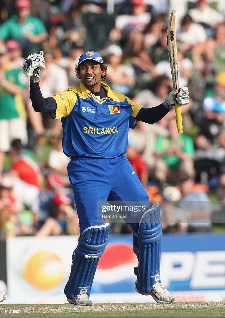 Tillakaratne Dilshan Of Sri Lanka Celebrates His Century During The ICC Champions Trophy Group B Match