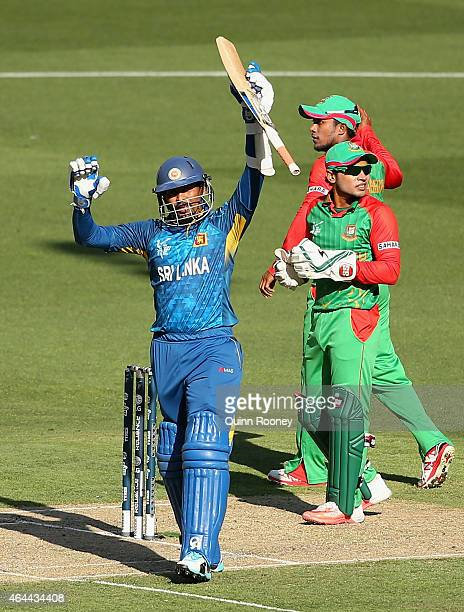 Tillakaratne Dilshan of Sri Lanka celebrates making his century during the 2015 ICC Cricket World Cup match between Sri Lanka and Bangladesh at...