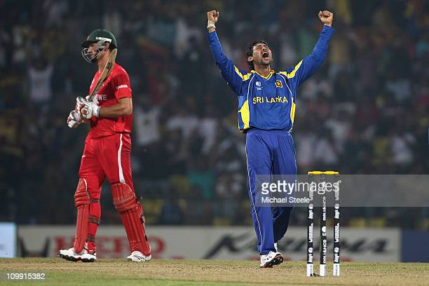 Tillakaratne Dilshan of Sri lanka celebrates taking the wicket of Craig Ervine during the Sri Lanka v Zimbabwe 2011 ICC World Cup Group A match at...