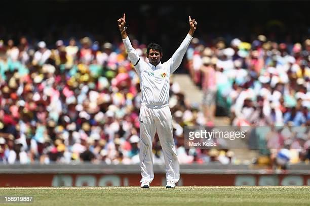 Tillakaratne Dilshan of Sri Lanka celebrates the wicket of David Warner of Australia tralia and Sri Lanka at Sydney Cricket Ground on January 4 2013...