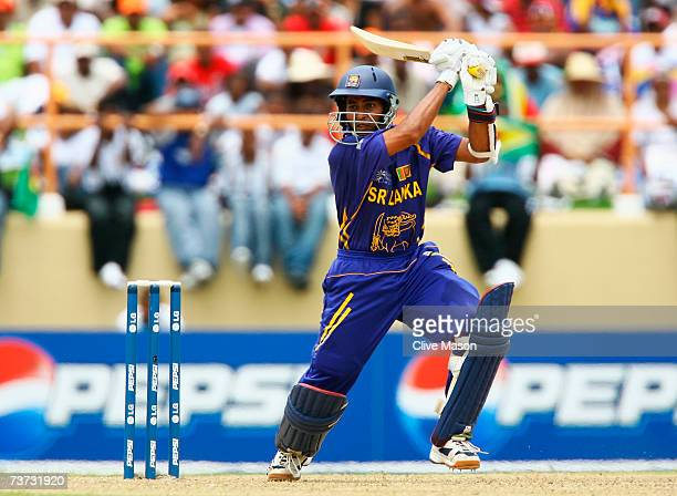Tillakaratne Dilshan of Sri Lanka hits out during the ICC Cricket World Cup Super Eights match between South Africa and Sri Lanka at the Guyana...