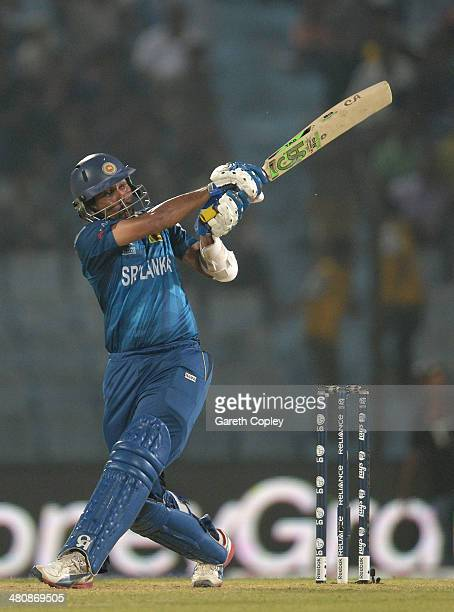 Tillakaratne Dilshan of Sri Lanka hits out during the ICC World Twenty20 Bangladesh 2014 Group 1 match between England and Sri Lanka at Zahur Ahmed...