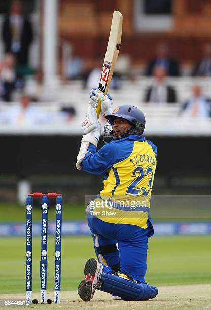 Tillakaratne Dilshan of Sri Lanka hits out during the ICC World Twenty20 Super Eights match between Pakistan and Sri Lanka at Lord's on June 12 2009...