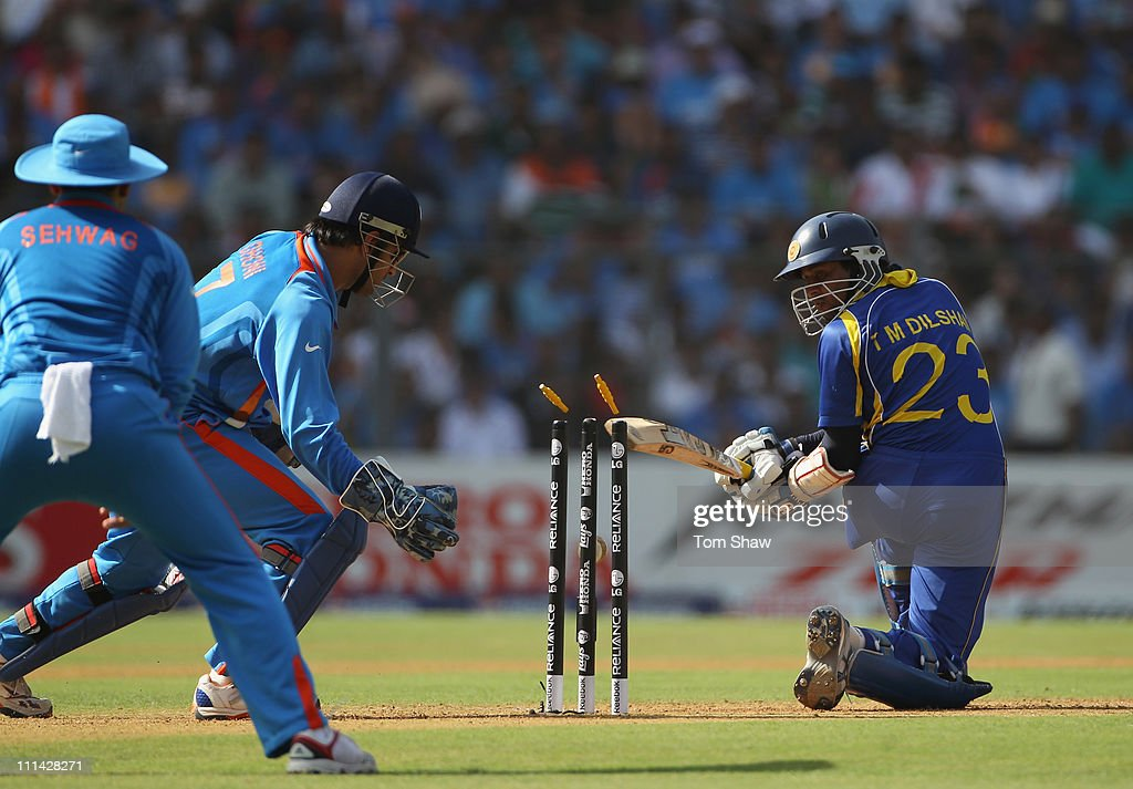 Tillakaratne Dilshan of Sri Lanka is bowled out during the 2011 ICC World Cup Final between India and Sri Lanka at the Wankhede Stadium on April 2, 2011 in Mumbai, India.