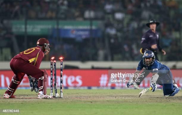 Tillakaratne Dilshan of Sri Lanka is run out during the Sri Lanka v West Indies at ShereBangla Mirpur Stadium during the ICC World Twenty20...