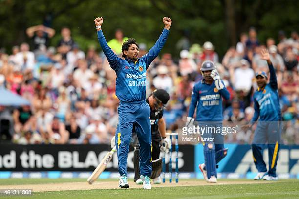 Tillekaratne Dilshan of Sri Lanka celebrates the wicket of Corey Anderson of New Zealand during the One Day International match between New Zealand...