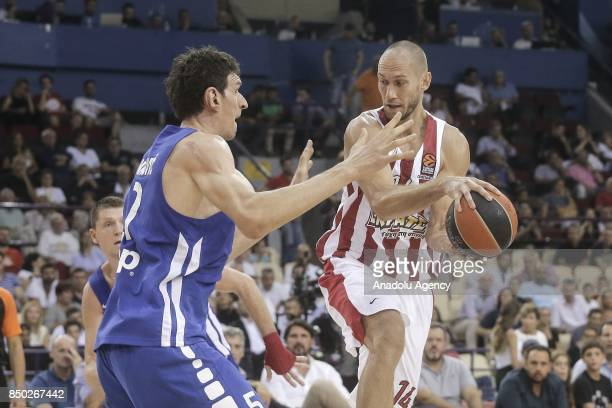 Tillie Kim of Olympiakos in action against Marjanovic Boban of Dusan Ivkovic All Stars during a friendly match in his honour, between Dusan Ivkovic...