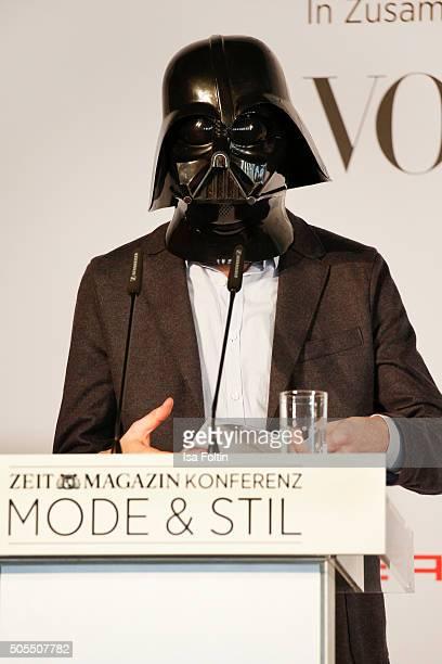 Tillmann Pruefer dressed in a Darth Vader mask attends the ZEITMagazin X VOGUE Conference 'Mode Stil' as part of Der Berliner Mode Salon during...